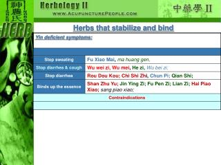 Herbs that stabilize and bind
