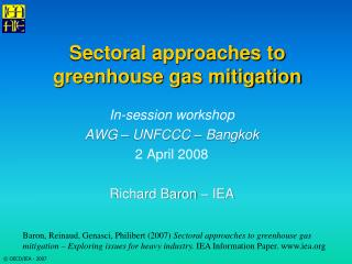 Sectoral approaches to greenhouse gas mitigation