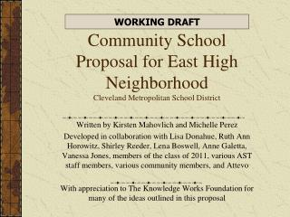 Community School Proposal for East High Neighborhood Cleveland Metropolitan School District