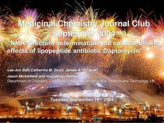 Medicinal Chemistry Journal Club September 2004