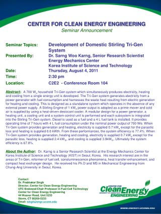 CENTER FOR CLEAN ENERGY ENGINEERING Seminar Announcement