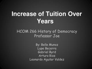 Increase of Tuition Over Years