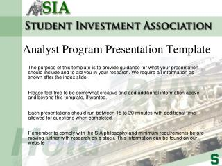 Analyst Program Presentation Template