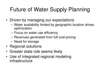 Future of Water Supply Planning