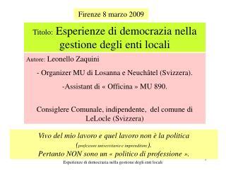 Firenze 8 marzo 2009