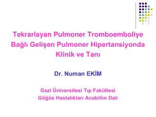 Tekrarlayan Pulmoner Tromboemboliye Bağlı Gelişen Pulmoner Hipertansiyonda  Klinik ve Tanı