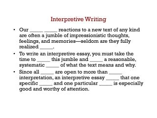 Interpretive Writing