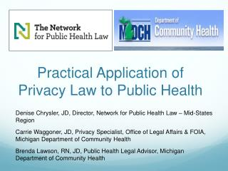 Practical Application of Privacy Law to Public Health