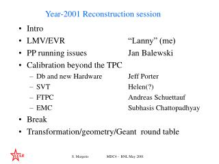 Year-2001 Reconstruction session
