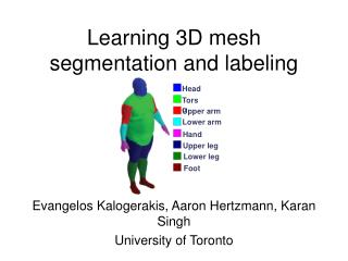 Learning 3D mesh segmentation and labeling