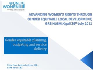 Gender  equitable  planning,  budgeting  and service  delivery