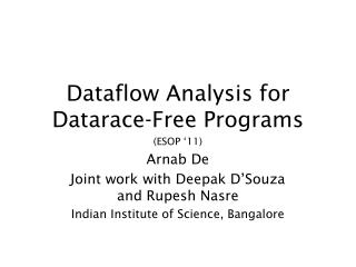 Dataflow Analysis for Datarace-Free Programs