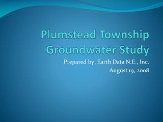 Plumstead Township Groundwater Study