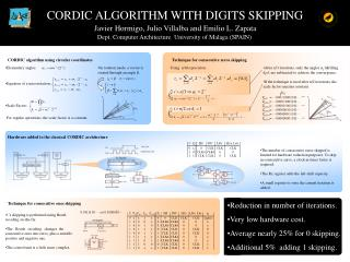 CORDIC ALGORITHM WITH DIGITS SKIPPING