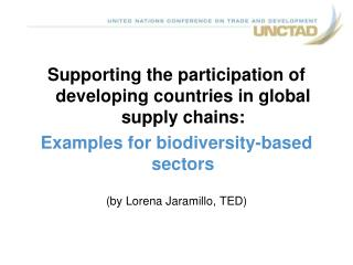 Supporting the participation of developing countries in global supply chains: