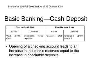 Basic Banking Cash Deposit