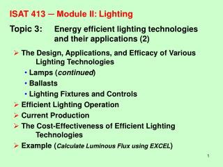 ISAT 413  ─ Module II:	Lighting