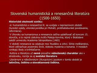 Slovenská humanistická a renesančná literatúra (1500-1650)