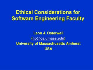 Ethical Considerations for Software Engineering Faculty