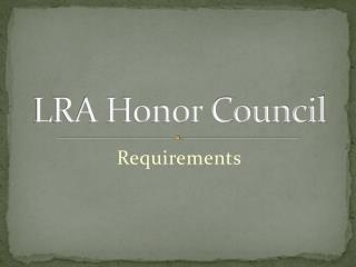 LRA Honor Council