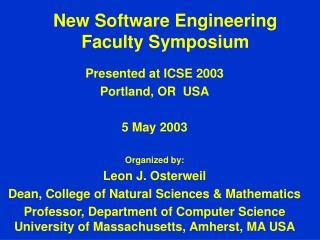 New Software Engineering Faculty Symposium