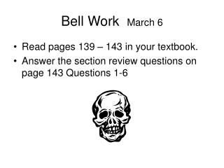 Bell Work   March 6