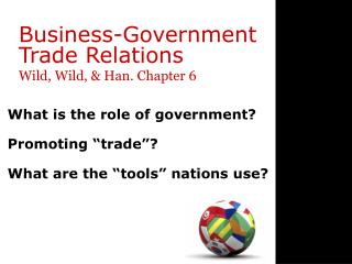 Business-Government  Trade Relations