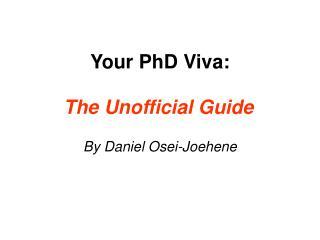Your PhD Viva: