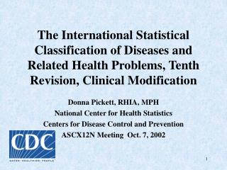 The International Statistical Classification of Diseases and Related Health Problems, Tenth Revision, Clinical Modificat