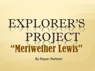 Explorer�s Project