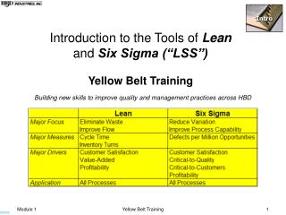 Introduction to the Tools of  Lean and  Six Sigma (�LSS�) Yellow Belt Training