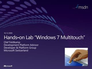 "Hands-on Lab ""Windows  7  Multitouch """