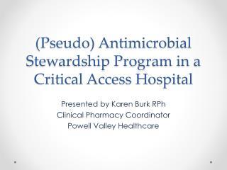 (Pseudo) Antimicrobial Stewardship Program in a Critical Access Hospital