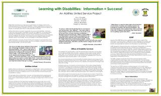 Learning with Disabilities:  Information = Success! An Abilities United Service Project