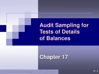 Audit Sampling for Tests of Details of Balances