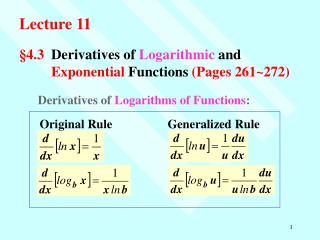 §4.3 	Derivatives of  Logarithmic  and 	 Exponential  Functions  (Pages 261~272)