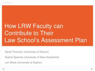 How LRW Faculty can  Contribute to Their  Law School ' s Assessment Plan