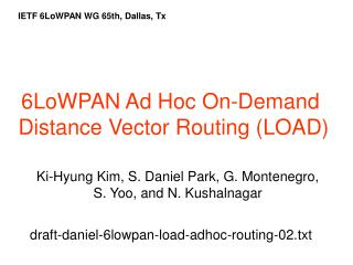 6LoWPAN Ad Hoc On-Demand Distance Vector Routing (LOAD)