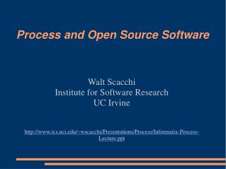 Process and Open Source Software