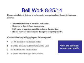 Bell Work 8/25/14