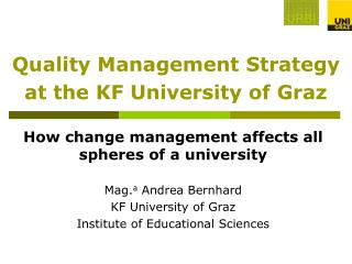 Quality Management Strategy at the KF University of Graz