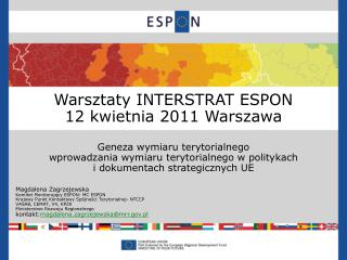Warsztaty INTERSTRAT ESPON 1 2 kwietnia  2011  Warszawa