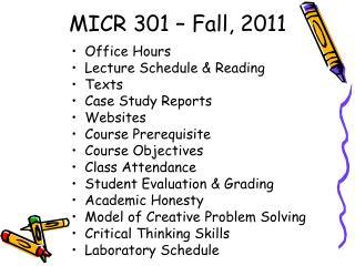 MICR 301 – Fall, 2011