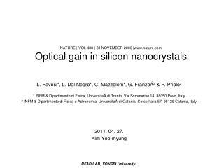 NATURE  VOL 408  23 NOVEMBER 2000 nature Optical gain in silicon nanocrystals