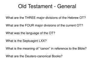 Old Testament - General