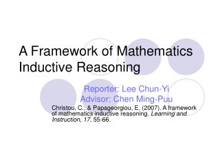 A Framework of Mathematics Inductive Reasoning