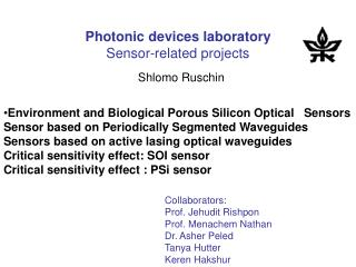 Photonic devices laboratory Sensor-related projects