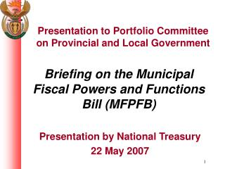 Briefing on the Municipal Fiscal Powers and Functions Bill (MFPFB)