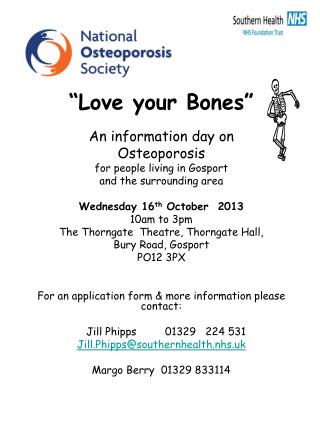 """Love your Bones"" An information day on Osteoporosis for people living in Gosport"
