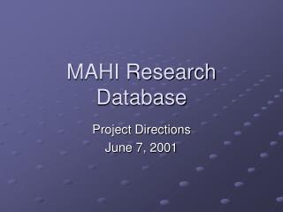 MAHI Research Database
